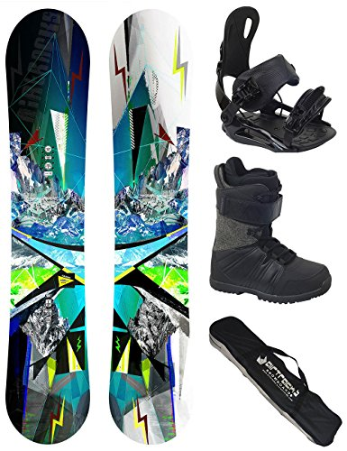 AIRTRACKS Snowboard Set / Board Places Wide Flat Rocker 156 + Snowboard Bindung Star + Boots Master QL 42 + Sb Bag (Snowboard 156cm Freeride)
