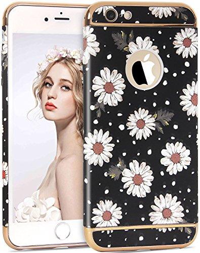 iPhone 6 6S Blumen Hülle, Imikoko iPhone 6 6S Elegant 3D Blumenmuster 3 in 1 Rundumschutz Reliefmalerei Slim Hard Hart PC Schutzhülle Back Case Cover für Girl Frauen Mädchen Muster 3