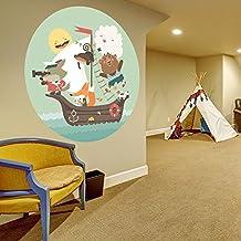 Adhesivo Pared habitación infantil / cuarto del bebé Navegación Animales Pirates dibujos animados Bebé Casa Adhesivo / MAR BARCO Bricolaje Redondo mural + GRATIS Pegatina Regalo - 40x40 cm