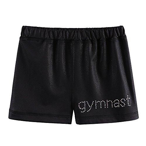 Schwarze Mädchen Sporthose (ZNYUNE Kinder Sporthose Gymnastikhose Mädchen Turnhose Mädchen Fitness Tanzhose Shorts Pants Kurz Kurzhose Schwarz M)