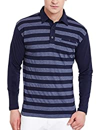 Hypernation Blue And Grey Stripe Cotton Polo T-shirt For Men