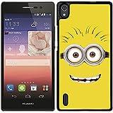 Funda carcasa para Huawei P7 dibujo cara minion fondo amarillo borde negro