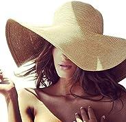 Women's Sun Hat Wide Brim Straw Hat Packable Roll Up UPF50+ Ladies Beach Hat Chin Strap Pack