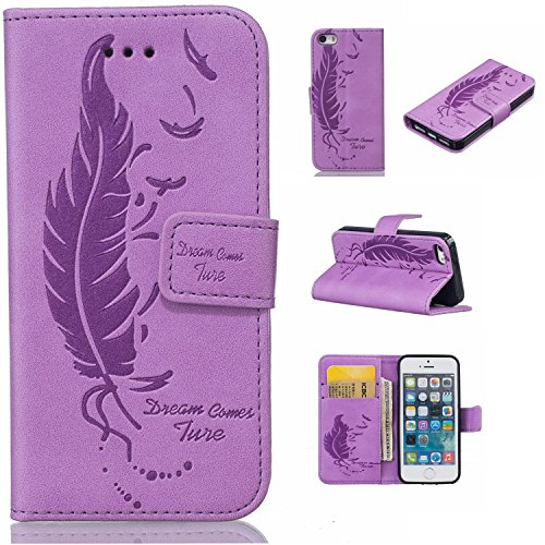 iPhone SE / 5 / 5S Hülle,iPhone SE / 5 / 5S Ledertasche Brieftasche im BookStyle,Cozy Hut Handyhülle iPhone SE / 5 / 5S [Flügel] Muster PU Leder Tasche Schutzhülle (Fee Flügel Junge)