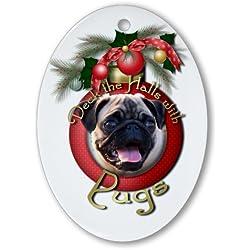 Christmas-Figura decorativa de Deck the Halls-ovalada), diseño de perros carlinos ovalado [Cocina]