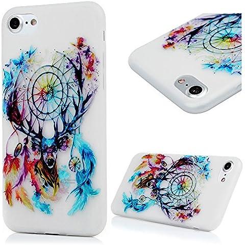 iPhone 7 Funda - Lanveni Carcasa Suave Flexible TPU Gel Silicona ultra delgado para iPhone 7 4.7 pulgadas Noctilucent Luminoso Protective Case Cover - Patrón Dreamcatcher Diseño