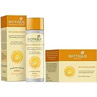 Biotique Bio Sandalwood 50+ SPF UVA/UVB Sunscreen Ultra Soothing Face Lotion, 120 ml|Bio Sandalwood Face & Body Sun…