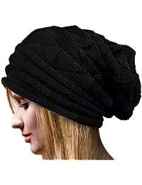 Las mujeres tejido cálido invierno Esquí Deportes sobredimensionado Slouch Beanie Hat Cap 7 colores negro