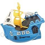 Promobo - Bateau Pirate A Remontoir Jouet De Bain Enfant Bleu