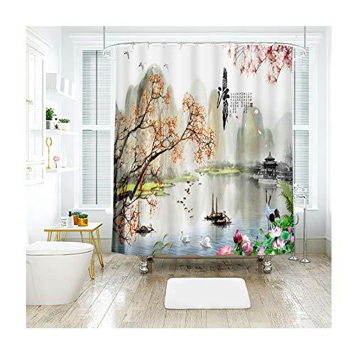 KnSam Duschvorhang Badewannevorhang Wasserdicht Frühling Anti-Schimmel inkl. 12 -