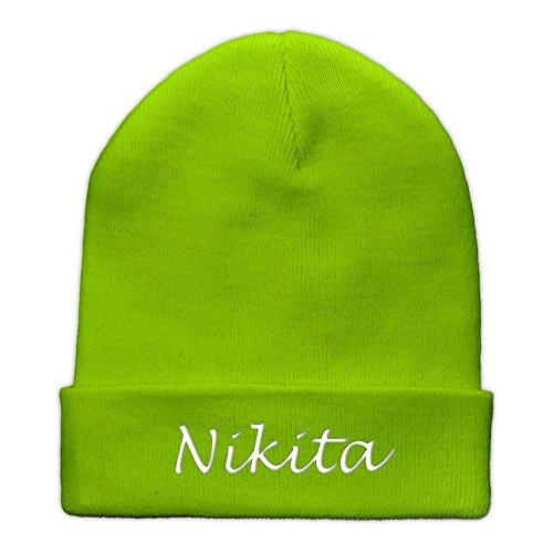 Beanie-Mütze mit Namen Nikita bestickt - Farbe Lime-Green - personalisierte Mütze,...