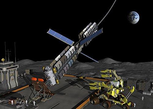 ek Images – A manned lunar space elevator prepares to depart from its manned lunar base. Photo Print (42,67 x 30,48 cm) (Lunar Base)