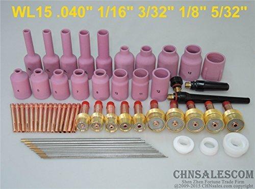CHNsalescom 62 pcs TIG Welding Torch Gas Lens Kit WP-17 WP-18 WP-26 WL15 Lanthanate Tungsten (Diamondback Kit Tool)