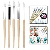 Xrten 5 Pezzi Nail Art Silicone Scultura Penna,Nail Art Pennello di Scultura Art Salon Tool Set