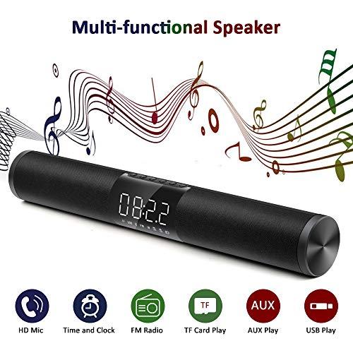KELUNIS Tragbare Bluetooth-Lautsprecher mit Superior Stereo Sound, Heavy Bass Up Technology, Alarm Clock, LED Screen, Wireless Speaker/Radio für Zuhause, Outdoor, Reisen (15 4-ohm-lautsprecher)