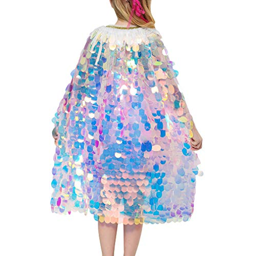 Kunfang Mädchen Pailletten Mantel Shiny Mermaid Cute Princess Sweet Umhang für Dress Up Party Weihnachten Halloween-Kostüm (Meerjungfrau Dress Up Kostüm)