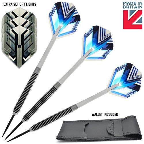 Spectre-24g-dart-set-80-Tungsten-Steel-Darts-with-Flights-Shafts-Wallet-FREE-spare-set-of-flights-MADE-IN-BRITAIN