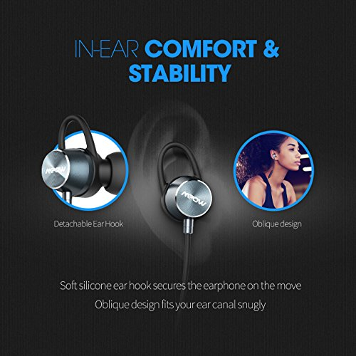 Bluetooth Earphones, Mpow Bluetooth 4.1 Headphones Stereo Magnetic Earbuds Wireless Sweatproof Running Headphones, Secure Fit for Sport, Exercise, Gym for iPhone, iPad, Samsung, Nexus, HTC, Siri with Built-in Mic