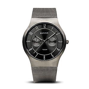 Bering Classic - Reloj analógico de caballero de cuarzo con correa de acero inoxidable gris - sumergible a 50 metros de BERING