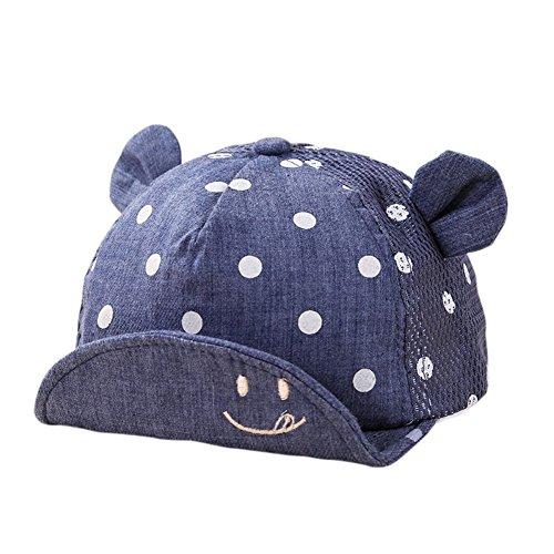 Yalatan Baby Junge Mädchen Kinder Kleinkind Mütze Baseball Tupfen Cap Hut Sonnenschutz (6-24M, Denim Blau Mesh)