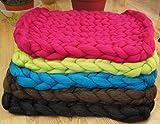 Pet Bett, Matte, Wolldecke. Farbe Grün. Natürliche und ökologische Wolle. Handmade . Gestrickt. Kostenloser Versand. Cozy kreatives Geschenk. - 9