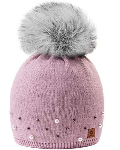 MFAZ Morefaz Ltd Mädchen Winter Mütze Beanie Kinder Groß Pom Pom Style Kids SKI Snowboard (Rose Pink Pearl 2)