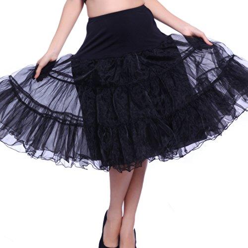 Schwarz Gr.L Vintage SWING ROCK Taillerrock Petticoat Unterrock Braut Party Hochzeit HALLOWEEN FASCHING KARNEVAL (Engel Petticoat)