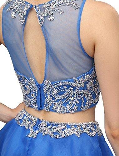 Dressystar Robe femme, Robe de bal courte sans manches en 2 pièces, à strass, en Organza Raisin