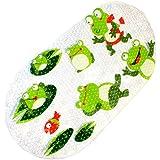 warrah antideslizante alfombra de baño ducha alfombrillas para bebé, alta calidad antideslizante resistente al moho para niños, antibacterias anti-slip-resistant baño adhesivo para niños, sin látex, 39cm de/diseño de rendijas * 70cm/diseño de rendijas (rana)