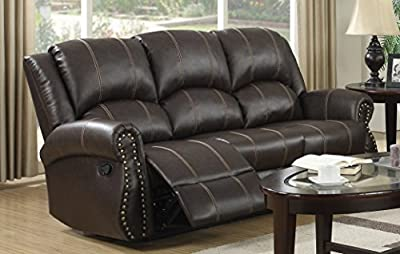 Lovesofas Salisbury Recliner 3 Seater Bonded Leather Home Lounge Sofa - Brown from Love Sofas