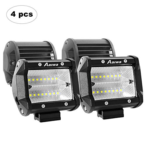 AAIWA Faro Luce LED,Flood Light 4' 48w 4pcs, Fari Luci di Lavoro Impermeabili IP68 e Potenti,Faretti Barra LED Fuoristrada,Fendinebbia per Auto,Truck,4x4