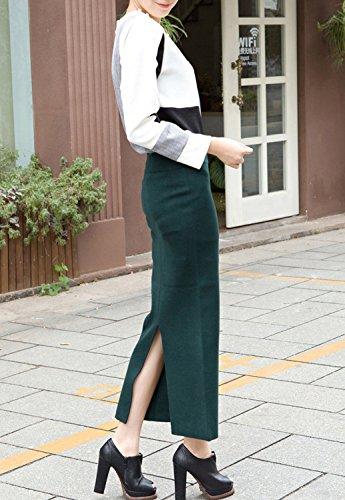 BININBOX® Damen Rock Strickrock Lang elegant Figurbetont schlitz in 5 Farben Feinstrick Wolle Dunkelgrün