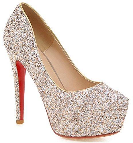YE , chaussures compensées femme Blanc - Doré