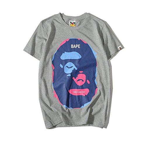 BOMOVO Herren BAPE Original Valueweight T Rundhals T-Shirt Grau