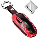 First2savvv rosso Guscio Shell Fob Alluminio Chiave Telecomando per Tesla Model X + pezza per pulire - CAR-YS-Model X-08G11