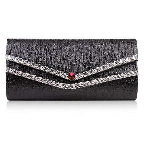 Damara Femme Sac De Soirée Strass Diamant Fabriqué Chaine Amovible Noir