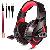 ZIHENGUO Stereo-Gaming-Headset Kabelgebundene Kopfhörer Mit Rauschunterdrückung Sport Kopfhörer Mit Mikrofon PS4 Line-Lautstärkeregler,Red