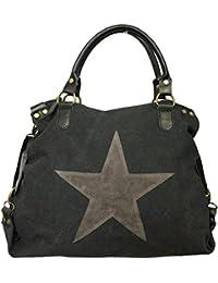 c9cefc91a3f45 STERN Star Damen Tasche Canvas Stoff Fashion Shopper Henkeltasche  Schultertasche