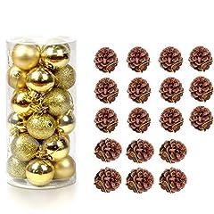 Idea Regalo - Faylapa decorazioni per albero di Natale palla appesa ornamenti + coni di pino naturale per albero di Natale festival party vacanza Gold