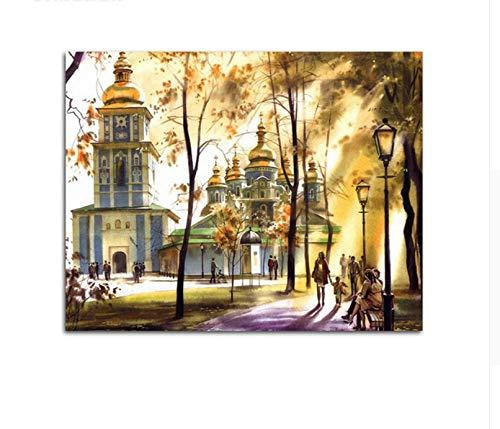 QAZZSF Frameless Crowd Trees Palace Malen Nach Zahlen Reflexion Beleuchtung Acrylfarben Frameless Digitales Malen 40X50CM - Moderne Landschaft Beleuchtung