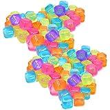 COM-FOUR® 120x Cubetti di ghiaccio riutilizzabili in diversi colori, cubetti di ghiaccio per bevande rinfrescanti (120 pezzi - dadi)