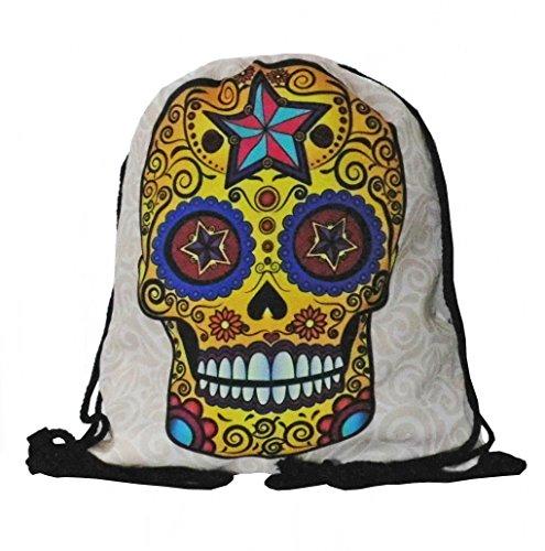Black Out Mexican Skull Tag der Toten Totenkopf Bunt Turnbeutel Rucksack