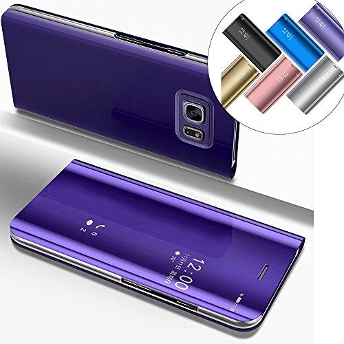 LEMAXELERS Galaxy S6 Edge Plus Hülle Luxus Spiegel Mirror Makeup Plating PU Flip Tasche Ledertasche Schutzhülle Handyhülle mit Ständer-Funktion Hülle Etui für Galaxy S6 Edge Plus,Mirror PU:Purple