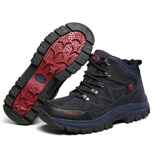Gomnear Herren Wandern & Trekking Stiefel High Top Antickid Outdoor Wasserdichte Winter Bergsteigen Schuhe Blau