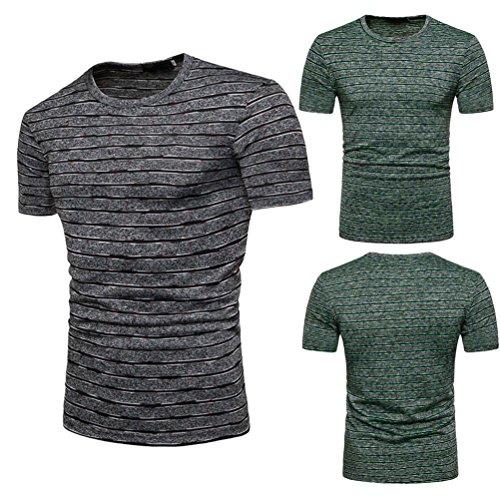 Malloom T-Shirt Été Occasionnels Stripe Imprimer O Neck Pullover Top Blouse