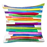 Pu Ran Flower Geometric Pattern Throw Pillow Case Cushion Cover Home Sofa Decor - 2 Colorful Stripes