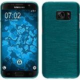 PhoneNatic Samsung Galaxy S7 Hülle Silikon blau brushed Case Galaxy S7 Tasche + 2 Schutzfolien
