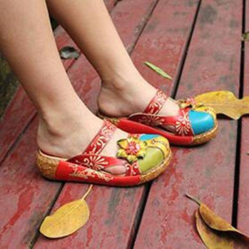 Gracosy Pantofola in Pelle da Donna Mocassini Donna Sandali Piatti Slip-On in Pelle Estiva Slipper di Oxford Sandali Estivi Vintage Fiore Colorato Backless Scarpe Fannullone Rosso