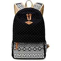 Geometry Dot Casual Canvas Backpack Bag, Fashion Cute Lightweight Backpacks