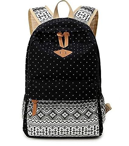 Femmes Sac à dos avec compartiment pour ordinateur portable de Voyage Loisirs Collège étudiant schoolbags Black